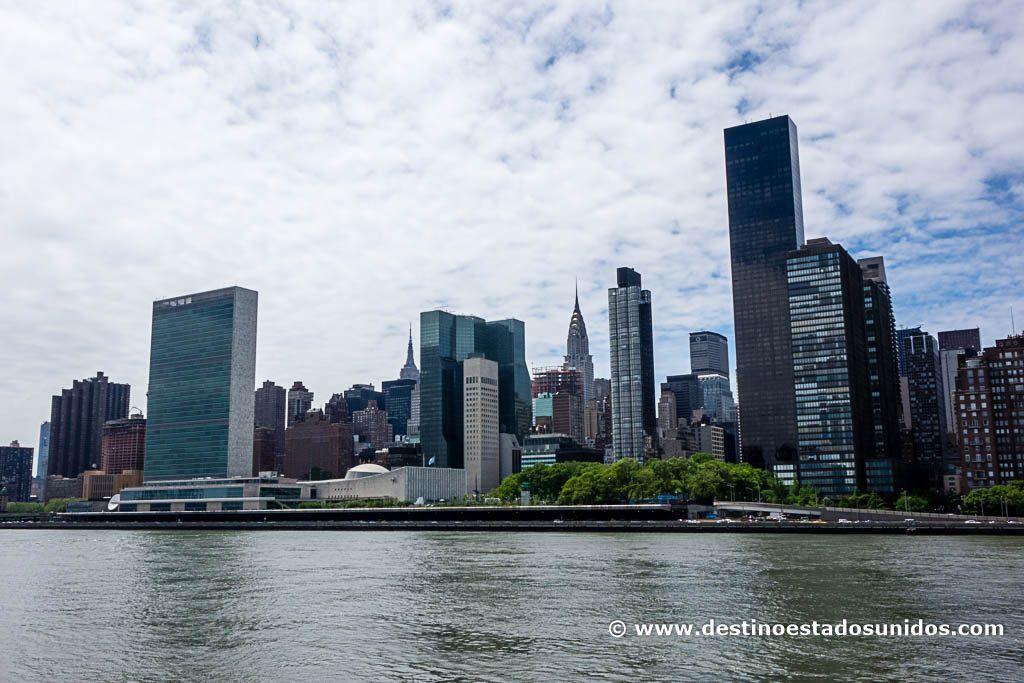 ONU, Empire State y edificio Chrysler desde Four Freedoms Park
